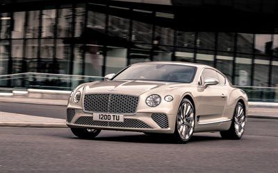 Bentley Continental GT Mulliner, 2020, 4k, front view, exterior, luxury coupe, new beige Continental GT, British cars, Bentley