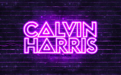 Calvin Harris violet logo, 4k, superstars, scottish DJs, violet brickwall, Calvin Harris logo, Adam Richard Wiles, Calvin Harris, music stars, Calvin Harris neon logo