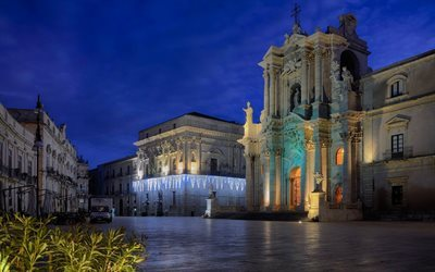 Evening, Square, Syracuse, Italy, Cathedral, Sicily, Duomo di Siracusa