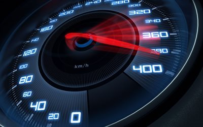 3D speedometer, speedometer scale, high speed, 400 kph speedometer
