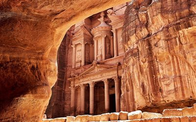 Al Khazneh, temple in rock, Petra, Jordan, religious places