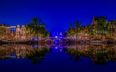 Amsterdam, bridge, night, Holland, Netherlands