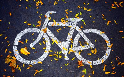bicycle, sign, autumn, bicycle path