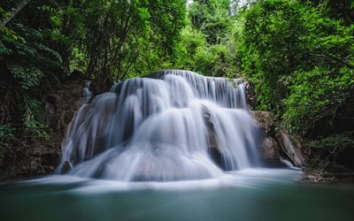 waterfall, forest, Thailand, lake, rain forest
