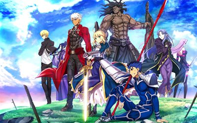 4k, Saber, Archer, Shirou Emiya, Lancer, Gilgamesh, manga, characters, Fate Stay night, TYPE-MOON