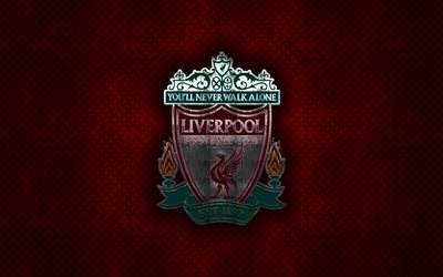Liverpool FC, English football club, red metal texture, metal logo, emblem, Liverpool, England, Premier League, creative art, football