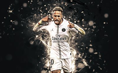 Neymar JR, white uniform, brazilian footballers, PSG, Ligue 1, football stars, Paris Saint-Germain, neon lights, Neymar, soccer