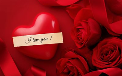 I love you, February 14, red heart, Valentines Day, red roses, romance, love background, love concepts, love greeting card