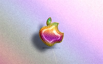 4K, Apple logo, colorful realistic balloons, brands, colorful backgrounds, Apple 3D logo, creative, Apple
