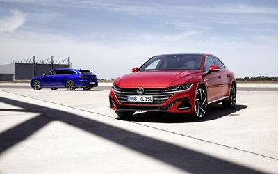 Volkswagen Arteon Shooting Brake R-Line, 2021, Volkswagen Arteon R-Line, blue station wagon, red sedan, new red Arteon, German cars, Volkswagen