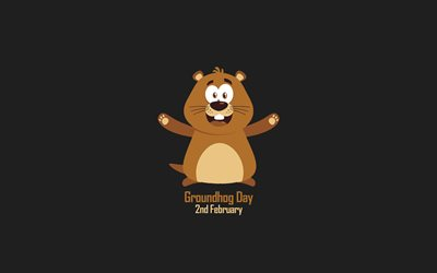 Happy Groundhog Day, minimalism art, gray background, February 2, USA, Canada, Groundhog Day