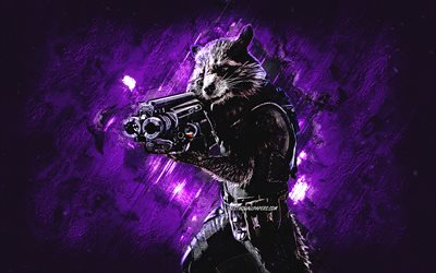 Rocket Raccoon, Marvel characters, purple stone background, Avengers characters, Guardians of the Galaxy