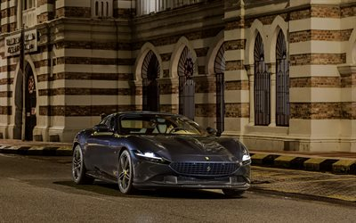 Ferrari Roma, 2021, front view, exterior, gray sports coupe, new gray Roma, italian luxury sports cars, Ferrari