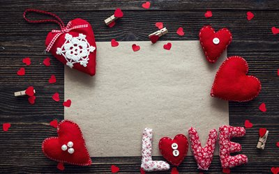 Love frame, sheet of paper, romantic letter template, Valentines Day, red heart, love concepts, romance frame