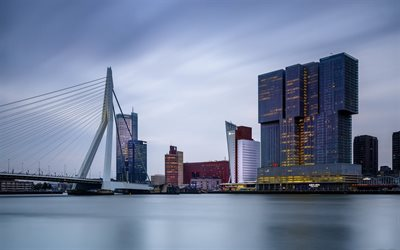 Erasmus Bridge, Rotterdam, Erasmusbrug, cable-stayed and bascule bridge, evening, sunset, modern buildings, Rotterdam cityscape, South Holland, Netherlands