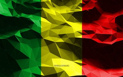 4k, Mali flag, low poly art, African countries, national symbols, Flag of Mali, 3D flags, Mali, Africa, Mali 3D flag