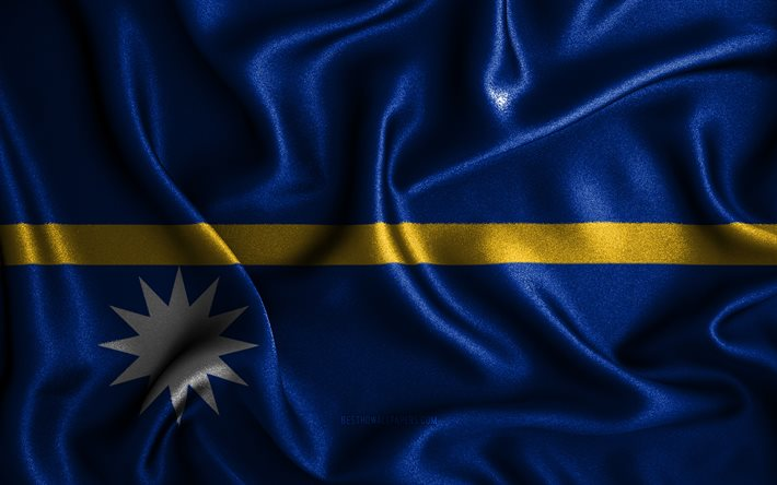 Nauru flag, 4k, silk wavy flags, Oceanian countries, national symbols, Flag of Nauru, fabric flags, 3D art, Nauru, Oceania, Nauru 3D flag