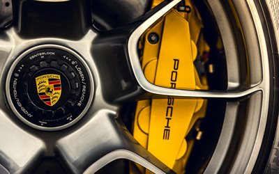 Porsche 911 Carrera Turbo S, 2021, brake disc, yellow Porsche caliper, 911 Carrera, German sports cars, Porsche