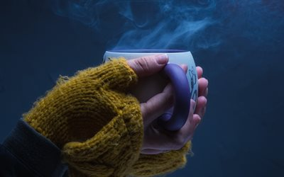 cup of hot tea in hand, burning tea, mood, cup of coffee, warm drink