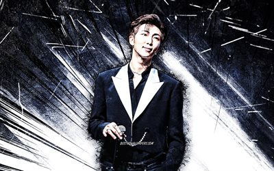 4k, RM, grunge art, BTS, korean band, Kim Nam-joon, blue abstract rays, Rap Monster, Kpop, korean celebrity, Bangtan Boys, K-pop, RM BTS, RM 4K