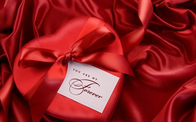 Red heart gift box, romantic gift, love concepts, Valentines Day, February 14, red silk bow