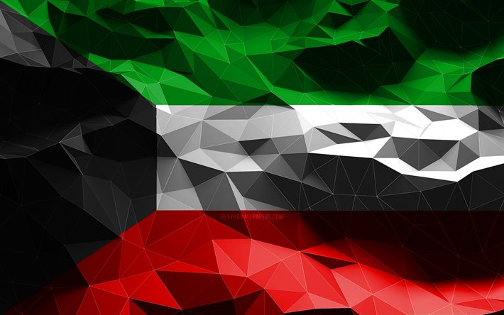 4k, Kuwaiti flag, low poly art, Asian countries, national symbols, Flag of Kuwait, 3D flags, Kuwait flag, Kuwait, Asia, Kuwait 3D flag