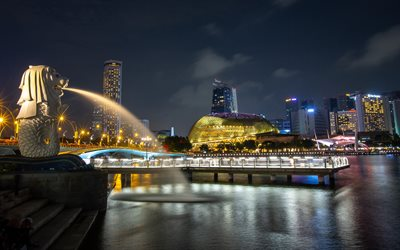 Singapore, Merlion Park, night, fountain, park, Singapore cityscape, skyscrapers, Singaporean landmark