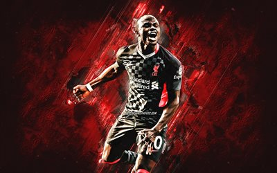 Sadio Mane, Liverpool FC, Senegalese footballer, midfielder, black uniform Liverpool, Premier League, England, soccer