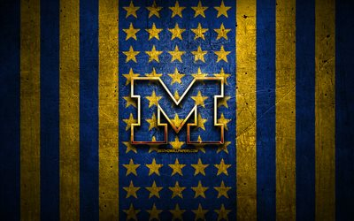 Michigan Wolverines flag, NCAA, blue yellow metal background, american football team, Michigan Wolverines logo, USA, american football, golden logo, Michigan Wolverines