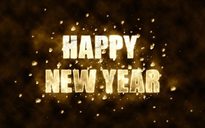 Happy New Year, neon inscription, New Year, concepts, bright signs