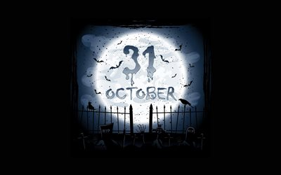 Halloween, October 31, autumn holidays, cemetery, graves, night
