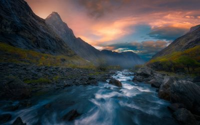 mountain river, mountains, sunset, forest, Romsdalen, Isterdalen, Norway