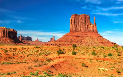 Monument Valley, USA, 4k, desert, blue sky, cliffs, Utah, America