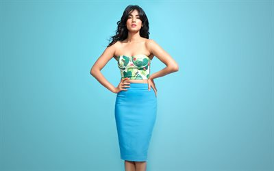 Sonal Chauhan, Indian fashion model, beautiful woman, indian actress, blue skirt