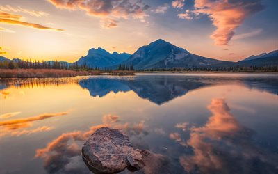 Vermilion Lakes, 4k, sunset, mountains, Banff National Park, Alberta, Canada