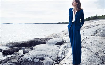 Alicia Vikander, Swedish actress, blue female suit, fashion model