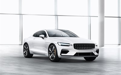 2020 Polestar P1, 2018, Volvo S90 Coupe, white sports car, Swedish cars, luxury cars, Volvo