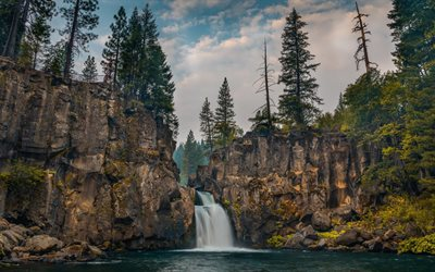 Upper McCloud Falls, mountains, waterfall, rock, forest, beautiful waterfall, USA, California