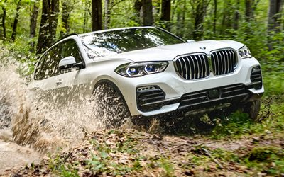 BMW X5, river, 4k, XDrive40i, 2019 cars, offroad, white X5, german cars, BMW