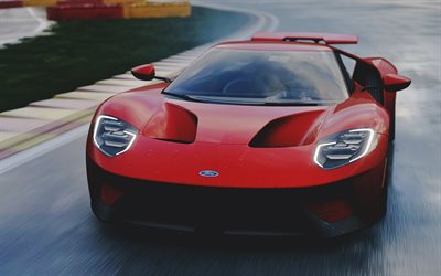 Ford GT, rain, racing cars, 2018 cars, raceway, supercars, red Ford GT, american cars, Ford