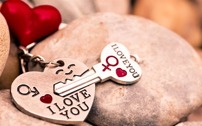 I love you, the key to the heart, romance, key chain, keys