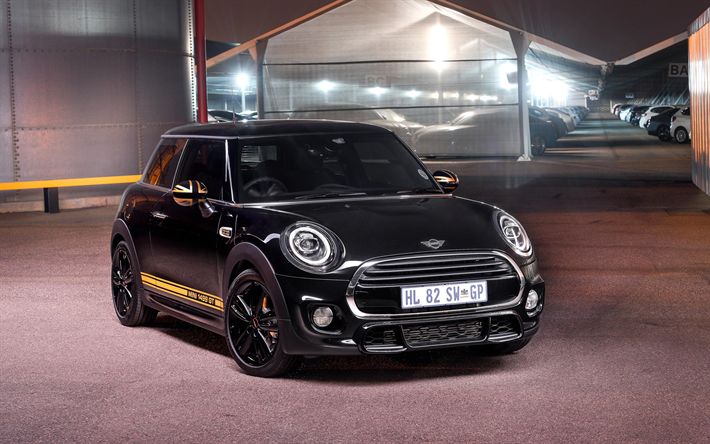 Download Wallpapers Mini 1499 Gt 2018 Black Hatchback Front View