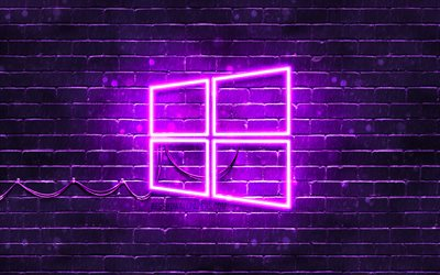 Windows 10 violet logo, 4k, violet brickwall, Windows 10 logo, brands, Windows 10 neon logo, Windows 10