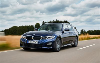 2020, BMW 3 Series Touring, 330d xDrive, G21, exterior, front view, blue wagon, new blue BMW 3, German cars, BMW