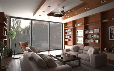 stylish apartments, modern interior design, living room, brown wooden furniture, living room project
