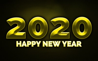 2020 yellow 3D digits, 4k, yellow metal grid background, Happy New Year 2020, 2020 metal art, 2020 concepts, yellow metal digits, 2020 on yellow background, 2020 year digits