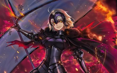 Fate Grand Order, darkness, Jeanne d Arc, manga, Avanger, artwork, Fate Series, TYPE-MOON