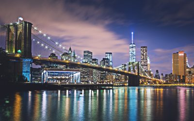 Brooklyn Bridge, 4k, Manhattan, modern buildings, american cities, nightscapes, NYC, skyscrapers, New York, USA, Cities of New York, New York at night, America