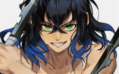 Inosuke Hashibira, close-up, Demon Hunter, samurai, Kimetsu no Yaiba, Demon Slayer, manga, Inosuke Hashibira with sword, Hashibira Inosuke