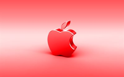 Apple red 3D logo, minimal, red background, Apple logo, creative, Apple metal logo, Apple 3D logo, artwork, Apple